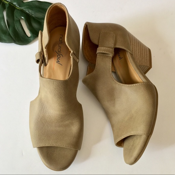 19210c3d7cf Dressy Peep Toe Bootie Sandals Taupe Tan Size 6